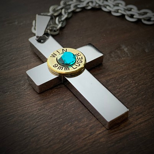 Perfect Cross Stainless Steel Bullet Necklace for Women 9mm W/Gem