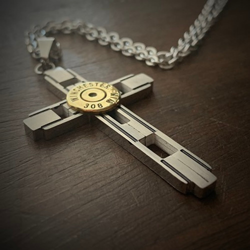 Ballistic Cross Stainless Steel Bullet Necklace for Men