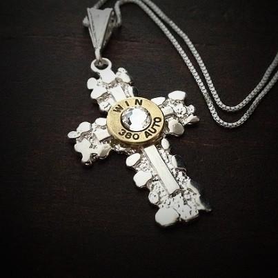 e4da210f82d Sterling Silver Nugget Cross Bullet Necklace for Women - JECTZ