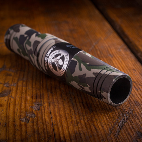 Camo Special Mallard Model: 655     Model 650 in Camo.  This Call has a little more Raspy Hen sound than the 650 but not as deep as the Acrylic line!     This call helped begin the Ducks Unlimited Green Wings Program, because of it's ease of use and dependability.   Everywhere the Sure-Shot team travels, someone tells a story of how this was their first call!  The Sure-Shot 650 line is a legend in the duck hunting industry. Born from our YENTZEN Classic double reed, but with more volume, which has taken it to the next level with a unique sound chamber in the poly body.     Like all Sure-Shot calls, it blows wet and it's easy to adjust patented double reed system performs the quack, feed call, and high ball sound of the mallard hen, like no other on the market. It doesn't get any better!