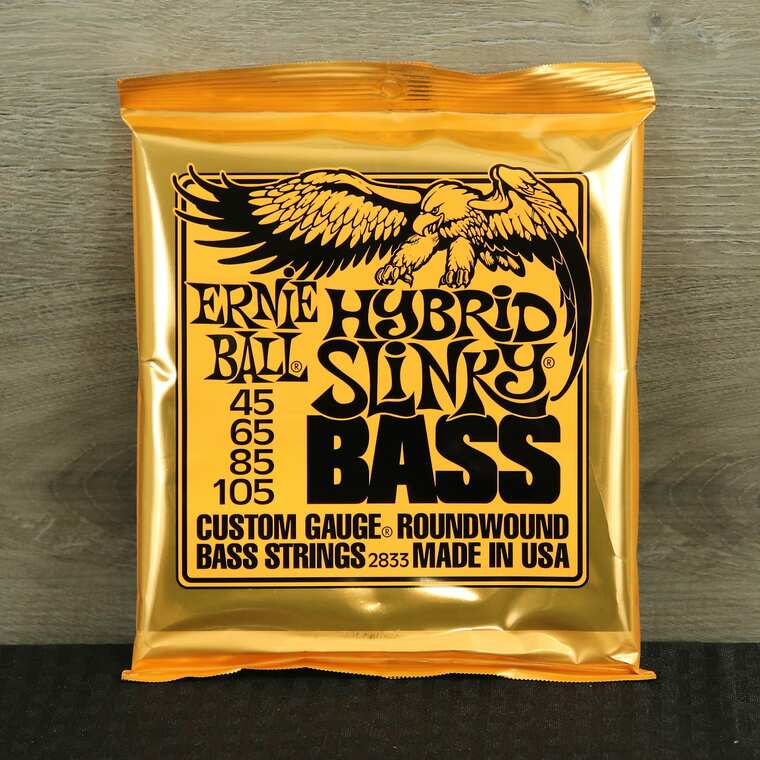 Ernie Ball 2833 Hybrid Slinky Round Wound Electric Bass Strings (45-105) Silver