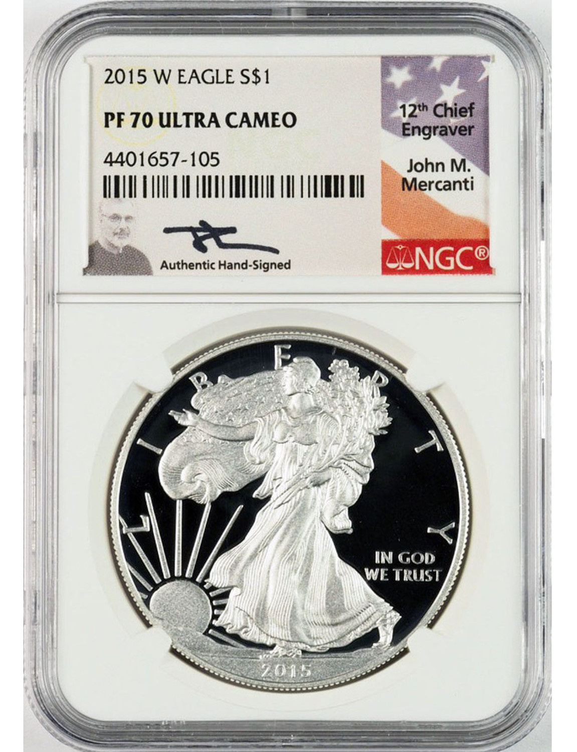 2012 S PROOF SILVER EAGLE NGC PF70 ULTRA CAMEO JOHN MERCANTI HAND SIGNED LABEL!