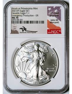 2021-P Silver Eagle Heraldic T-1 Emergency Production ER NGC MS70 Mercanti Signed