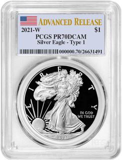 2021-W Type 1 Silver Eagle Advanced Release PCGS PR70DCAM