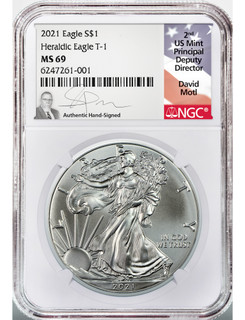 2021 Type 1 American Silver Eagle NGC MS69 David Motl Signed