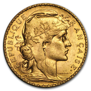 20 FRANC FRENCH GOLD ROOSTER