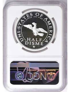 1792-2017 Silver 1oz. U.S. Mint 225th Anniversary Half Disme Pattern Private Issue Medal NGC PF70 UC Moy Signed