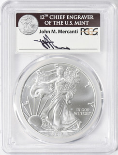2016 $1 Silver Eagle 30th Anniversary PCGS MS70 Mercanti Signed