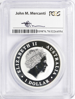 2015-P $1 Australia Silver Dollar Wedge Tailed Eagle PCGS MS70 Mercanti Signed