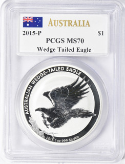 2015-P $1 Australia Silver Dollar Wedge Tail Eagle PCGS MS70 Mercanti Signed