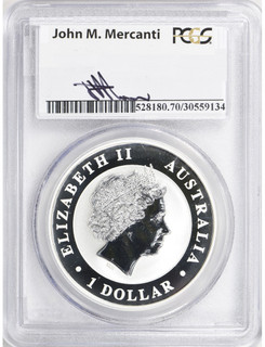 2014-P Australia Silver $1 Wedge Tailed Eagle and $8 High Relief Wedge Tailed Eagle in Case of Issue PCGS MS70 & PR70DCAM Mercanti Signed 2 Coins