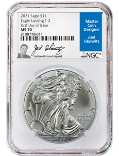 2021 Type 2 American Silver Eagle FDI NGC MS70 Joel Iskowitz Signed
