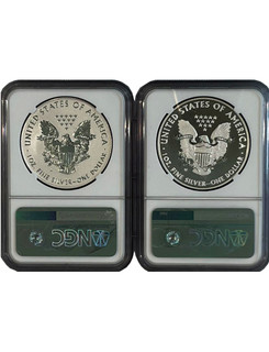 2013-W Silver Eagle West Point Set NGC Reverse Proof PF70 & Enhanced SP70 Bressett Signed