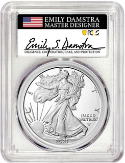 2021 T-2 American Silver Eagle PCGS PR70DCAM Emily Damstra Signed
