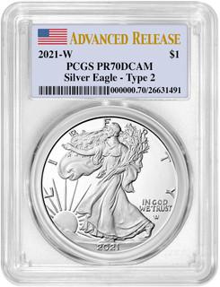 2021-W Type 2 Silver Eagle Advanced Release PCGS PR70DCAM