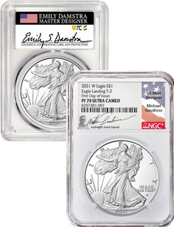 2021-W T-2 American Silver Eagle 2 Coin Set PF70DCAM Damstra Gaudioso Signed