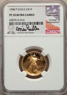1988-P $10 Quarter-Ounce Gold Eagle Modern Bullion Coins NGC MS70