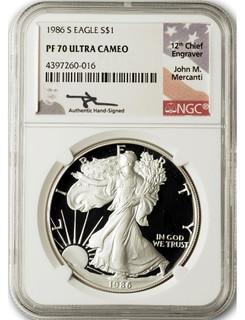1986-S $1 Proof Silver Eagle NGC PF70 Ultra Cameo John Mercanti Signed