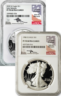 1986 and 2020 2-Coin Set American Silver Eagles NGC PF70 Mercanti Signed  Plus Book
