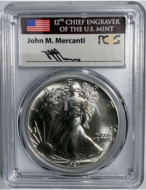 1987 $1 Silver American Eagle PCGS MS70 John Mercanti Signed