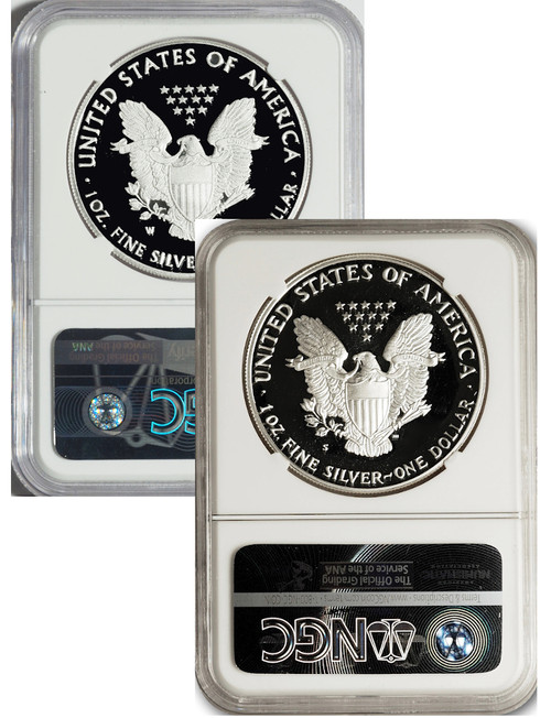 2020 S and W Proof Silver Eagles NGC PF70 Ultra Cameo Mercanti Signed (S) First Day of Issue