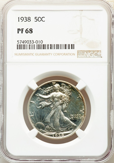 1938 50C Proof Walking Liberty Half Dollar NGC PR68