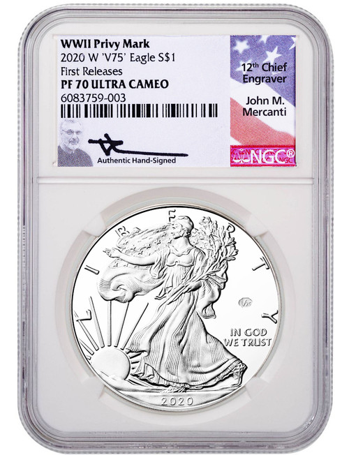 2020-W American Silver Eagle v75 WWII NGC FR PF70UCAM Mercanti Signed