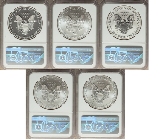 2011 Silver Eagle 25th Anniversary 5-pc Set NGC 70 Castle Signed