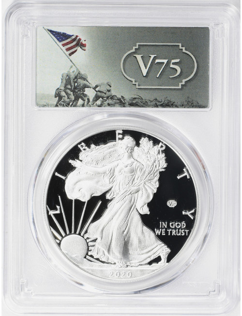 2020-W American Silver Eagle v75 WWII PCGS First Day of Issue PR70DCAM
