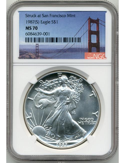 1987-S Silver American Eagle NGC MS70 Bridge Label
