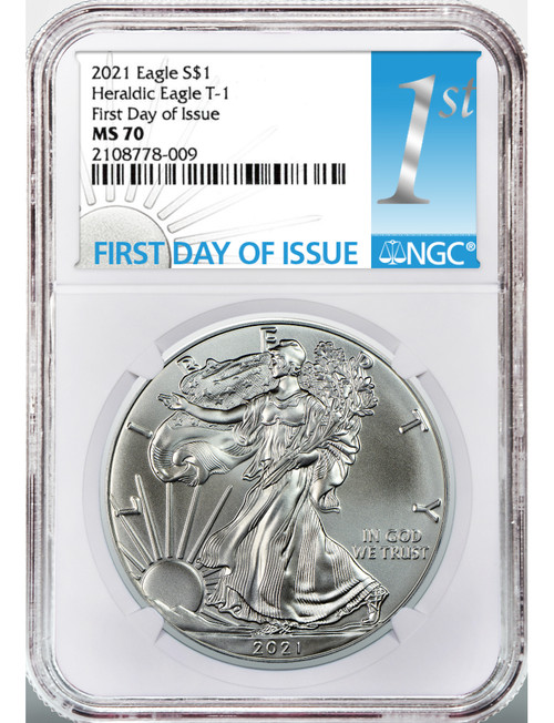 2021 Type 1 American Silver Eagle First Day of Issue NGC MS70
