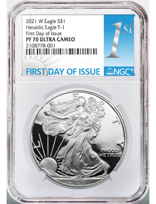 2021-W Type 1 American Silver Eagle First Day of Issue NGC PF70UCAM