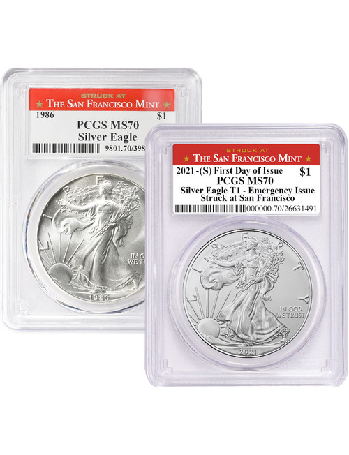 1986 & 2021 Silver Eagles Struck At San Francisco Mint PCGS MS70