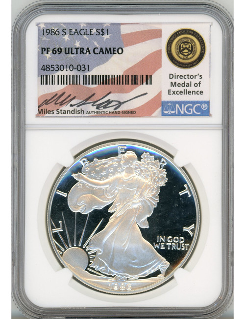 1986-S $1 Proof Silver Eagle NGC PF69 Ultra Cameo Miles Standish Signed