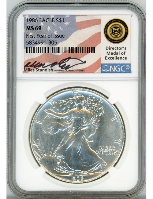 1986 $1 American Silver Eagle NGC MS69 Miles Standish Signed
