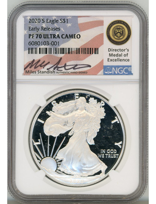 2020-S $1 Proof Silver Eagle NGC PF70 Ultra Cameo Miles Standish Signed