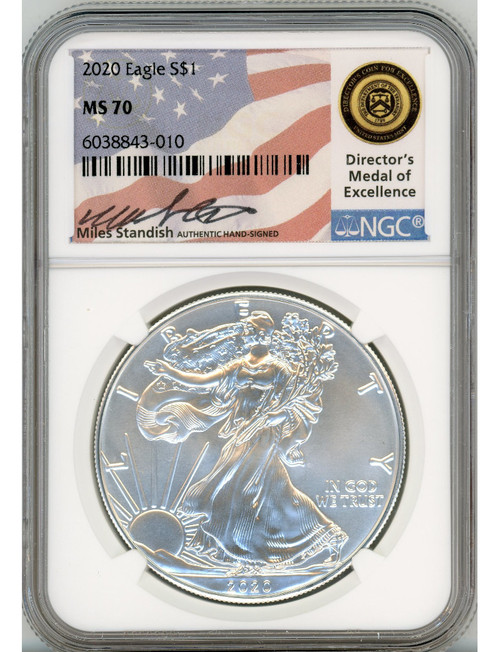 2020 $1 American Silver Eagle NGC MS70 Miles Standish Signed
