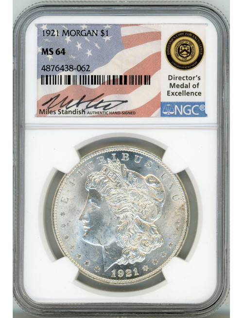 1921 Morgan Dollar NGC MS64 Miles Standish Signed