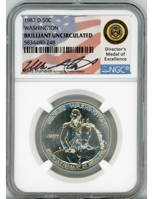 1982-S 1982-D Washington Half Dollars NGC PR & BU Miles Standish Signed