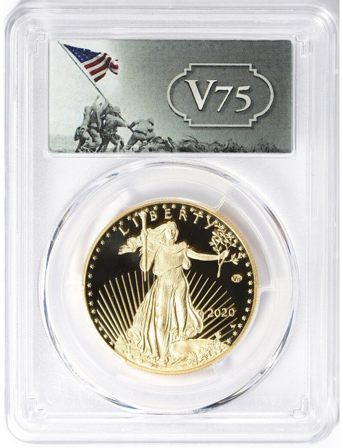 2020-W End of WWII 75th Anniversary $50 1 Oz Gold Eagle V75 PCGS PR70DCAM First Strike