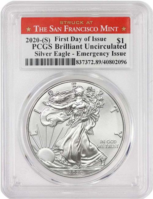 2020-(S) $1 American Silver Eagle PCGS Emergency Production Struck at San Francisco First Day of Issue