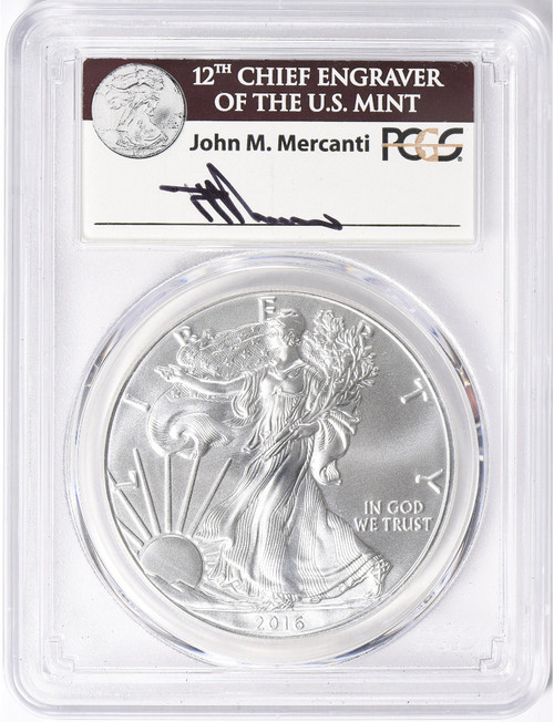 2016-W Silver Eagle PCGS MS70 Mercanti Signed 30th Anniversary