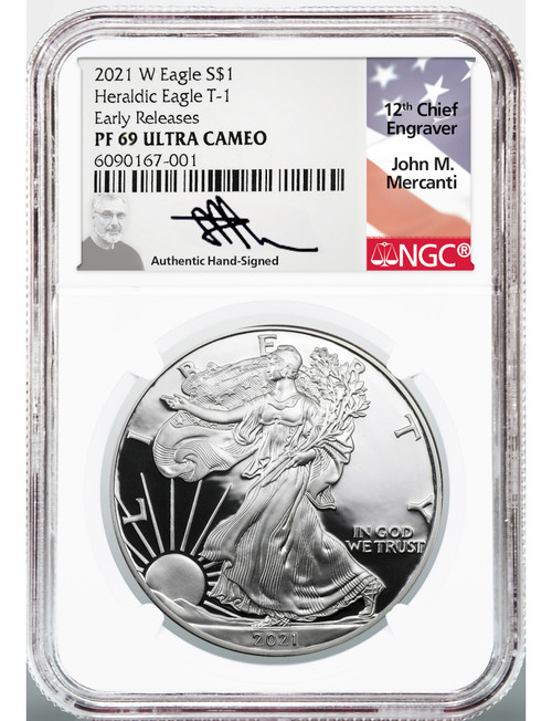 2021-W Silver Eagle Heraldic Eagle T-1 Early Releases PF69 Ultra Cameo Mercanti Signed