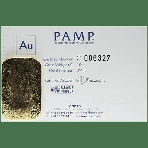 100 Gram Gold Pamp Suisse Bar .9999 w/Assay