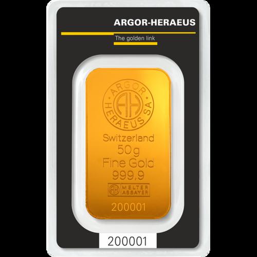 50 GRAM GOLD BAR ARGOR-HERAEUS