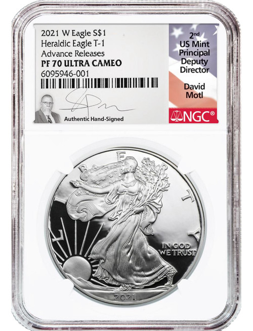 2021-W T1 Silver Eagle Advanced Releases NGC PF70 David Motl Signed