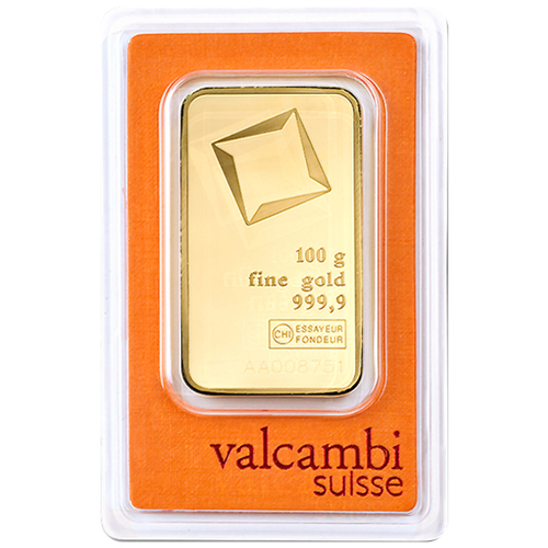 100 Gram Valcambi Gold Bar New w/ Assay