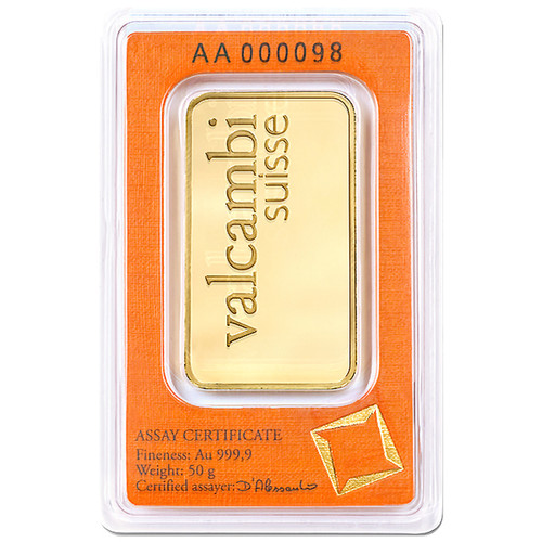 50 Gram Valcambi Gold Bar New w/ Assay