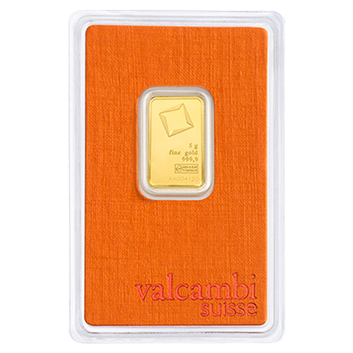 5 Gram Valcambi Gold Bar New w/ Assay