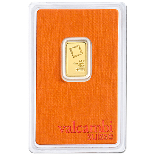 2.5 Gram Valcambi Gold Bar New w/ Assay